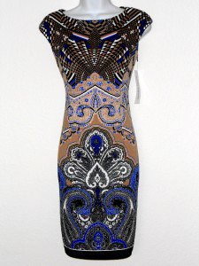 Maggy London Dress Size 8 Brown Blue Black White Mixed Print Knit Sheath NWT