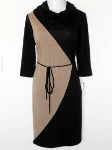 Sandra Darren Sweater Dress Size 3X Beige Mocha Black Colorblock Belt Knit NWT