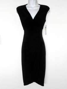 London Times Black Dress Size 4 Stretch Ruched Sleeveless Versatile NWT