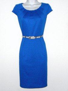 Connected Apparel Dress Size Sz 10P Sheath Blue Snake Belt Career Cocktail