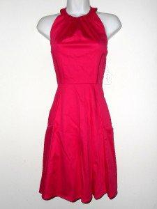 Jessica Simpson Dress Size 6 Hot Pink Halter Cotton Flare Pockets Retro NWT