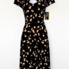 Julian Taylor Dress Size 6 Black Beige Polka Dot Belt Retro Keyhole Stretch NWT