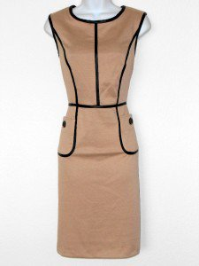 Connected Apparel Dress Size 16 Taupe Camel Knit Sheath Faux Leather Trim New
