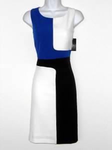 Ronni Nicole Dress Size 12 Blue Black White Geo Colorblock Stretch Sheath