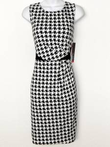 Rafaella Dress Size 6 Black White Houndstooth Print Stretch Sheath NWT