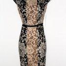 Maggy London Dress Size 8P Brown Black Ivory Mixed Print Knit Sheath NWT