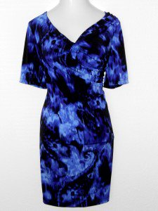Connected Apparel Dress Size 14W Purple Black Dip Dye Print Ruched Stretch New