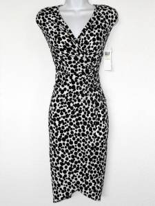 London Times Dress Size 6 Black White Polka Dot Print Ruched Stretch NWT