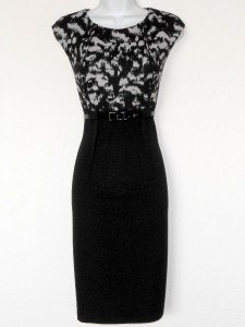 Connected Apparel Dress Size 12 Black Gray Print Stretch Sheath Belt New