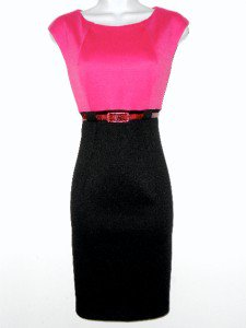 Connected Apparel Dress Sz 12P Pink Black Sheath Knit Snakeskin Belt Career New