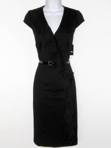 Sandra Darren Black Dress Size 8 Faux Wrap Ruffle Cap Sleeve Belt Career New