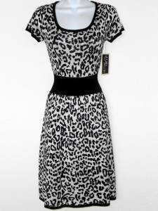Julian Taylor Sweater Dress Large L White Black Leopard Animal Cap Sleeve NWT