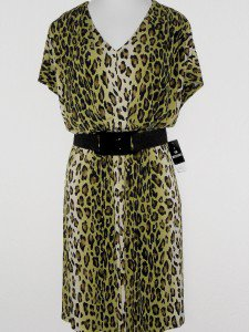 Sandra Darren Dress Size 16W Green Black Leopard Animal Print Belt Blouson NWT