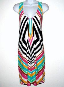 London Times Dress Size 10 Sleeveless Geometric Stripe Colorful Jersey NWT