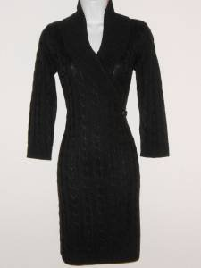 Calvin Klein Black Sweater Dress Large L Cable Knit Buckle NWT