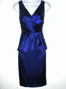 London Times Dress Size 4 Sapphire Blue Stretch Satin Peplum Cocktail NWT