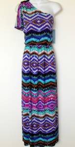 London Times Maxi Dress Sz 10 Blue Pink Brown Multi Boho Print One Shoulder New