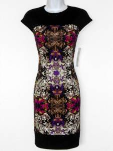 Maggy London Dress Size 10 Black Pink Purple Multi Print Ponte Stretch NWT