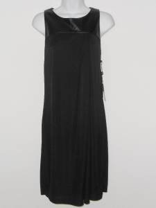 Adrianna Papell Black Dress Size 8 Jersey Shift Faux Leather Pleated NWT