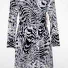 Jones NY Dress Size 1X Gray Black Animal Print Faux Wrap Stretch Belt NWT