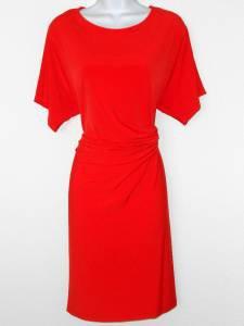Calvin Klein Dress Medium M Tomato Red Dolman Sleeve Stretch Buckle Versatile