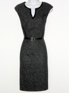 Connected Apparel Dress Size 10 Gray Black Faux Leather Trim Belt Career New