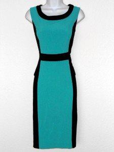 Glamour Dress Size 8 Mint Green Black Colorblock Peplum Stretch Cocktail NWT