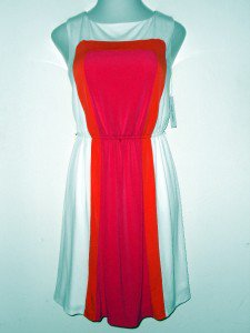 Sandra Darren Dress Size 12 White Pink Orange Geometric Colorblock Jersey NWT