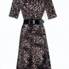 Evan Picone Dress Size Sz 12 Brown Black Leopard Print Knit Flare Belt NWT