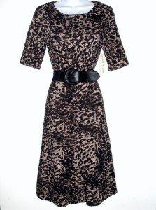 Evan Picone Dress Size Sz 12 Brown Black Leopard Print Knit Flare Belt NWT
