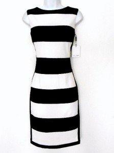 Calvin Klein Dress Size 12 Black White Block Stripe Knit Sheath Career Cocktail