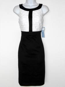 London Times Dress Size 8 Black White Colorblock Stripe Stretch Cocktail NWT