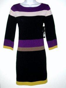 Nine West Sweater Dress Size Sz PM Black Purple Green Striped Knit NWT New