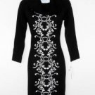 Sandra Darren Sweater Dress Small S Black White Scroll Print Cowl Neck Knit NWT