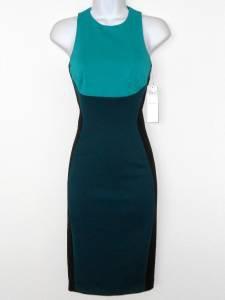 Maggy London Dress Size 12 Blue Green Black Colorblock Scuba Illusion NWT