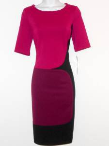 Maggy London Dress Size 6 Pink Purple Black Colorblock Stretch Scuba NWT