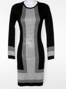 Premise Sweater Dress Size XS Black Gray Colorblock Stripe Knit NWT