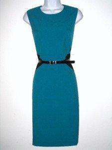 Calvin Klein CK Dress Size Sz 10 Teal Black Colorblock Belt Cocktail NWT New