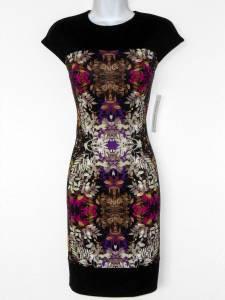Maggy London Dress Size 4 Black Pink Purple Multi Print Scuba Stretch NWT
