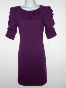Jessica Simpson Dress Size 10 Eggplant Purple Mini Knit Ruched Sleeve NWT