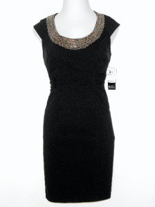 Adrianna Papell Black Dress Size 14P Stretch Ruched Beaded Cocktail NWT