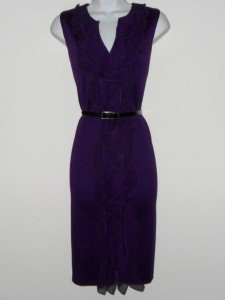 Connected Apparel Dress Sz 16 Eggplant Purple Knit Sheath Ruffle Snake Belt New