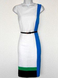 Calvin Klein CK Dress Size 6 Colorblock Sheath White Blue Black Green Belt NWT