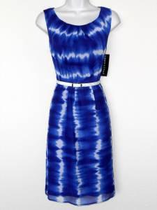 Connected Apparel Dress Size 6 Blue White Dip Dye Watercolor Print Chiffon Belt