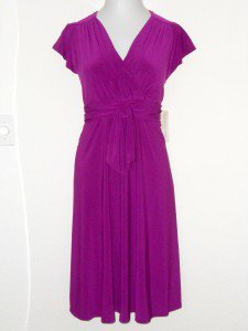 Evan Picone Dress Sz 20W Berry Purple Knot Stretch Jersey Surplice Versatile NWT