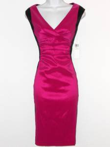 London Times Dress Size 12 Fuchsia Pink Black Colorblock Stretch Cocktail NWT