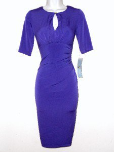 London Times Dress Size Sz 8 Grape Purple Stretch Ruched Keyhole Cocktail NWT