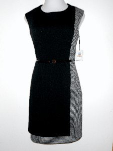 Calvin Klein CK Dress Size Sz 12 Black Ivory Houndstooth Career Cocktail NWT