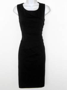 Calvin Klein Black Dress Size 12 Starburst Seam Knit Sheath Sleeveless NWT