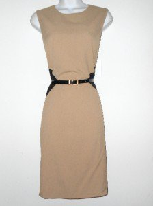 Calvin Klein Dress Size Sz 10 Stretch Sheath Tan Black Colorblock Belt NWT